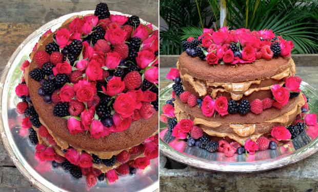 NAKED CAKE 61 Naked cake com flores e frutas
