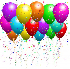 Balloons celebration 300x297 Clipart Illustration of a Bunch Of Floating Party Balloons With