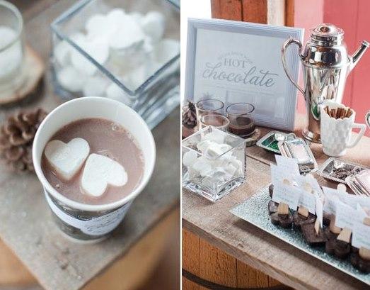 chocolate quente Para casamentos no inverno...!