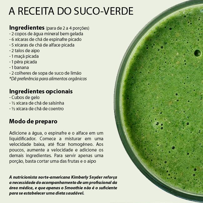 SUCO VERDE Para dieta: suco verde