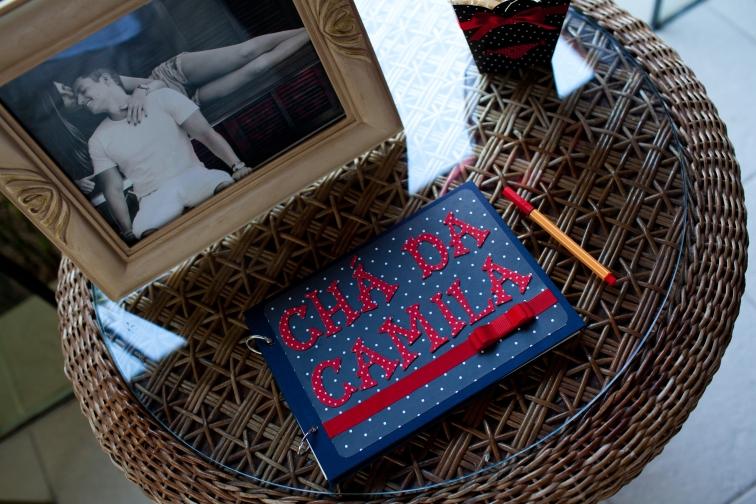 7A Chá de lingerie preto, branco e vermelho