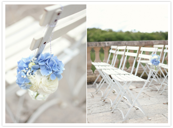 french chateau wedding 10 Flores nas cadeiras para cerimônia