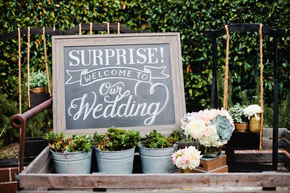 surprise california wedding 3 Suculentas na decoração